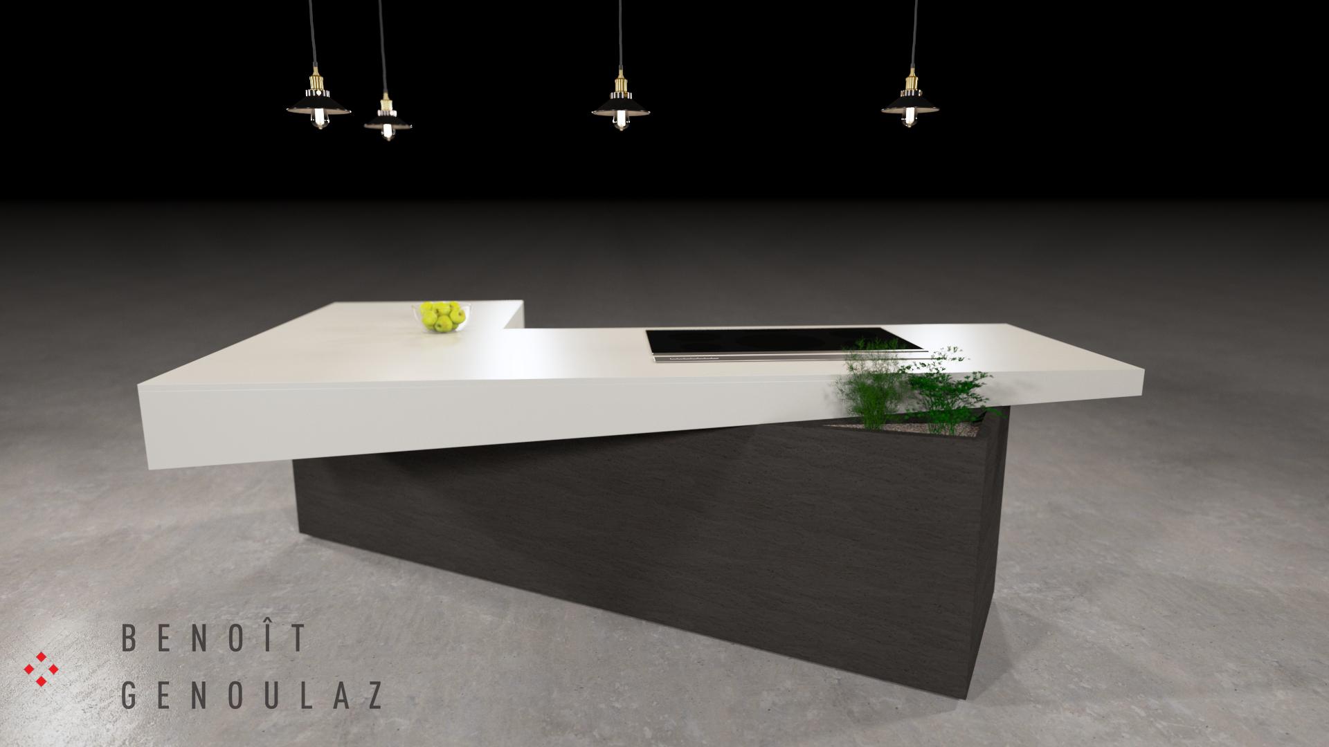 Vue extérieur d'un îlot de cuisine contemporain moderne est composé d'un comptoir en marbre en L aux faces non parallèle et désaxé de son socle.