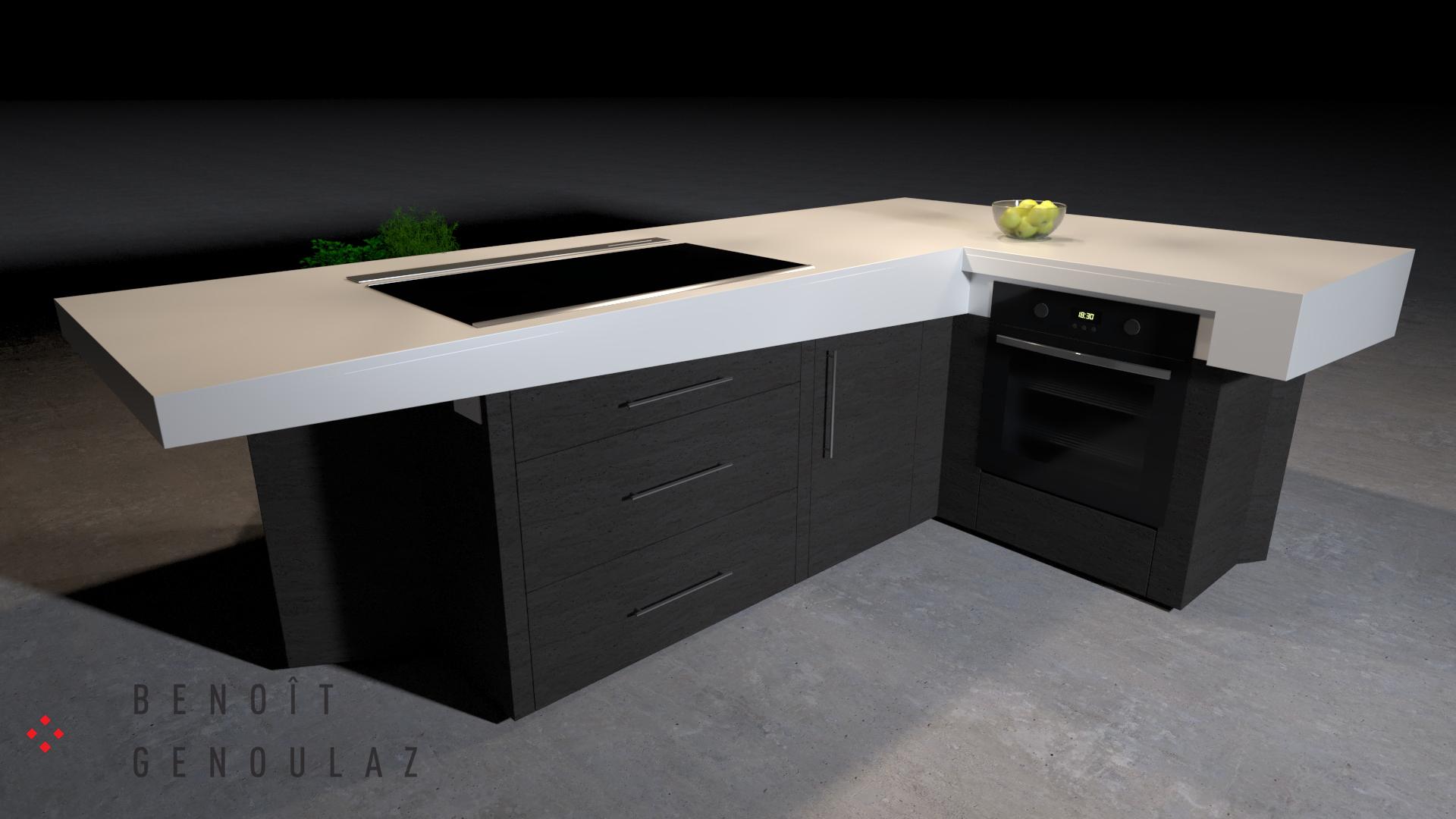 Vue intérieur d'un îlot de cuisine contemporain moderne est composé d'un comptoir en marbre en L aux faces non parallèle et désaxé de son socle.