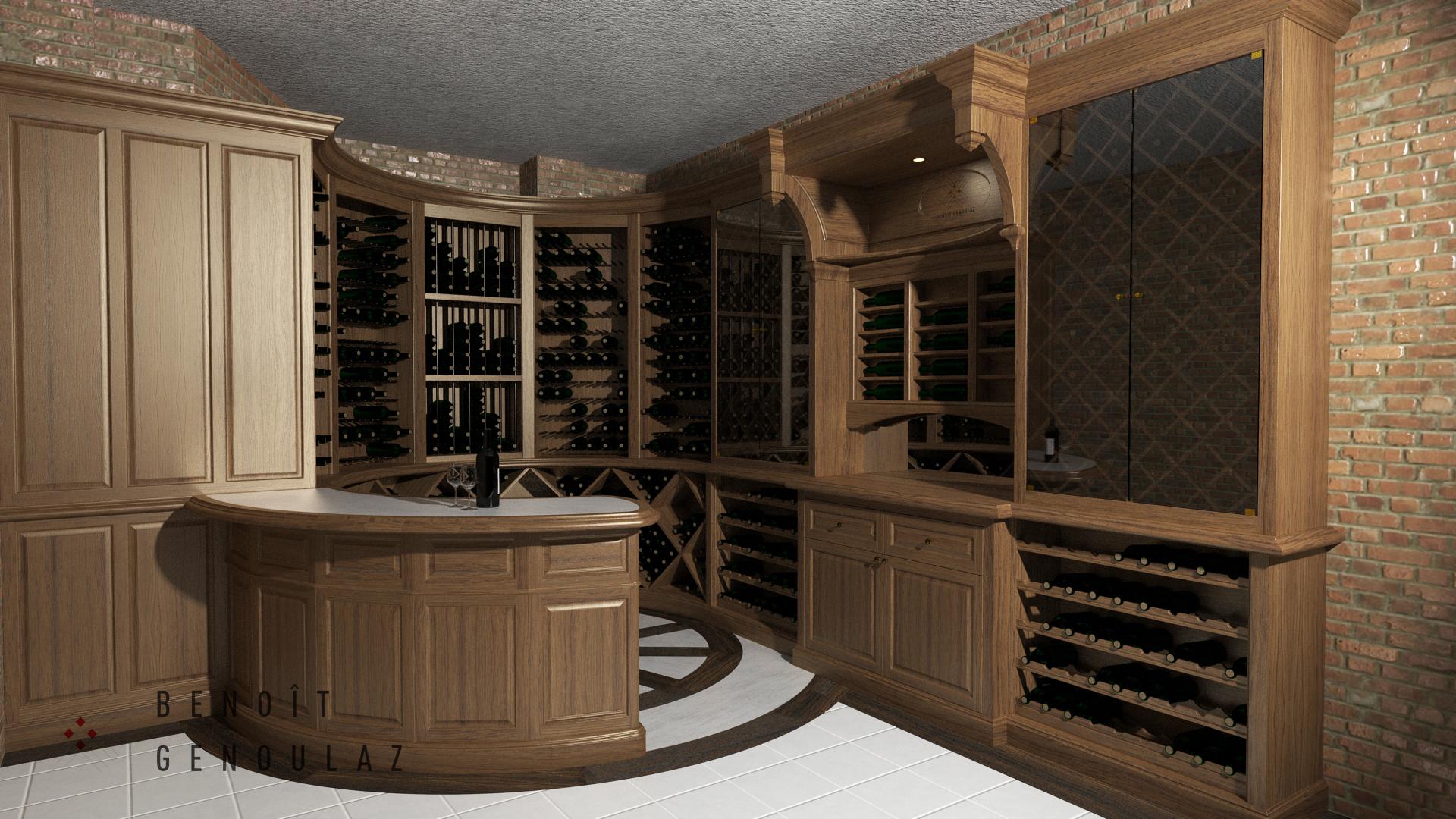 Cellier en bois 1057 bouteilles