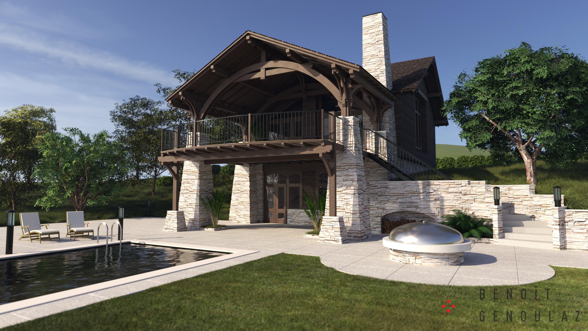 Chalet pierre et bois, terrasse, piscine, BBQ. Rendu photo réaliste de jour. Visualisation Projet Immobilier. Charpente apparente.