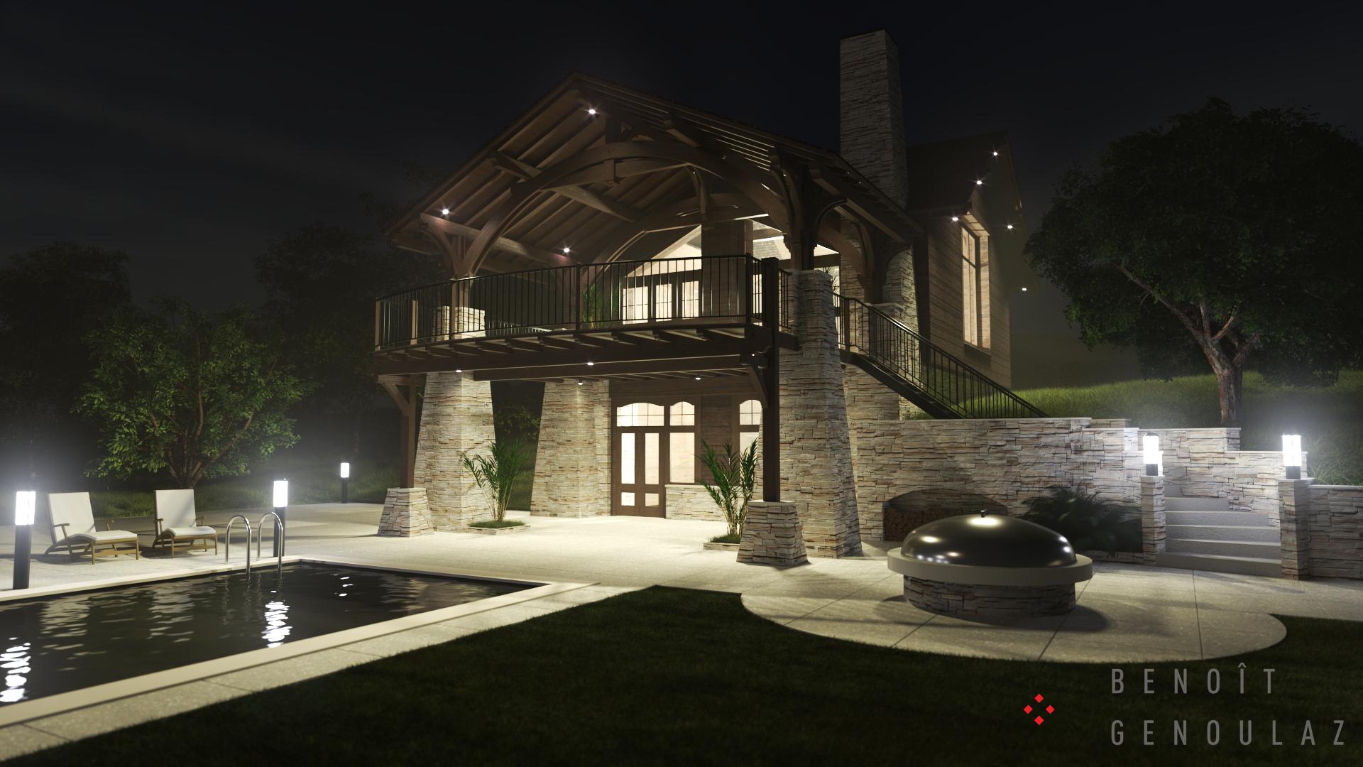 Chalet pierre et bois, terrasse, piscine, BBQ. Rendu photo réaliste de nuit. Visualisation Projet Immobilier. Charpente apparente.