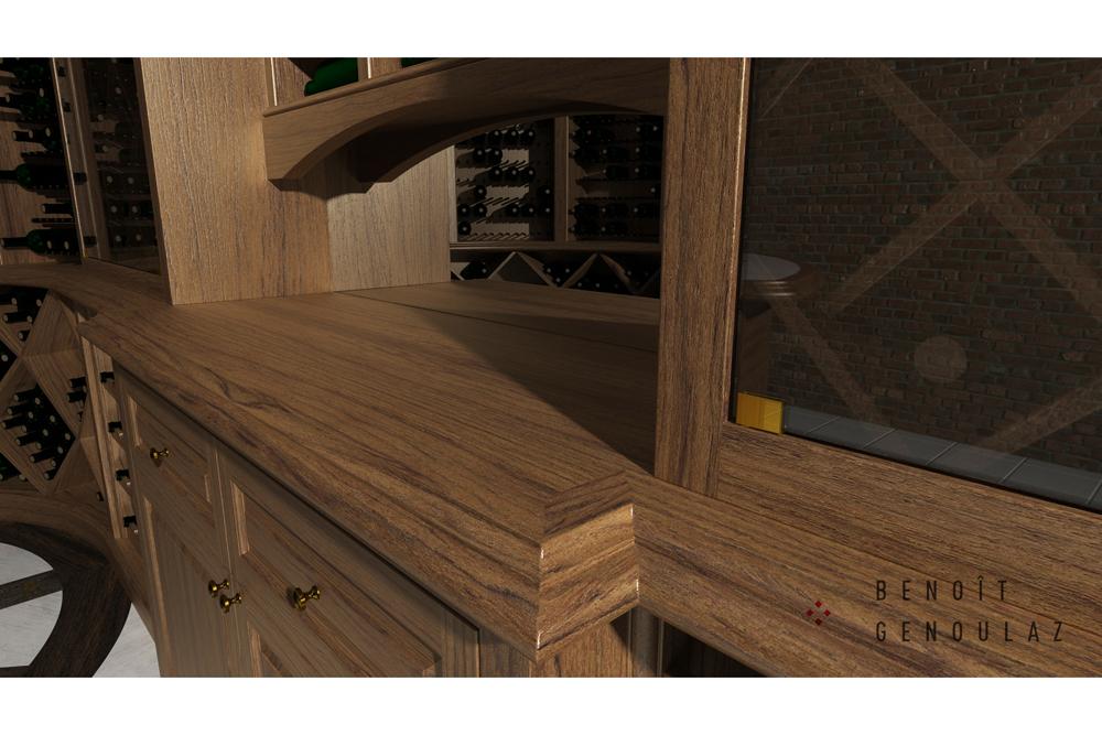 Cellier en bois sur mesure avec bar de dégustation, 1057 bouteilles.